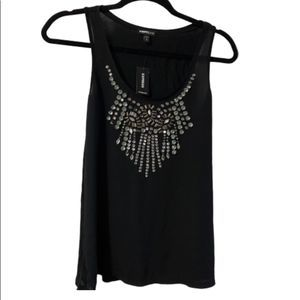 Express Bedazzled Black Tank Top